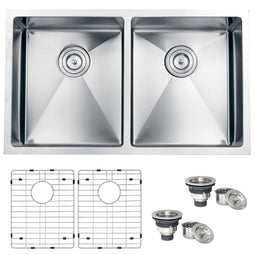 32-inch Undermount 50/50 Double Bowl Tight Radius 16 Gauge Stainless Steel Kitchen Sink