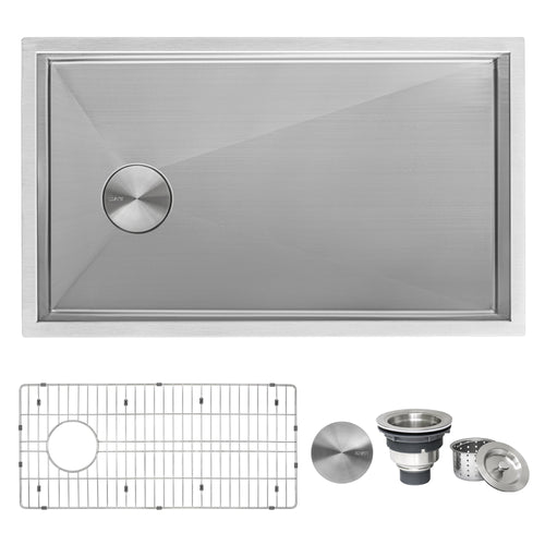 Slope Bottom Offset Drain Undermount Kitchen Sink Single Bowl Stainless Steel
