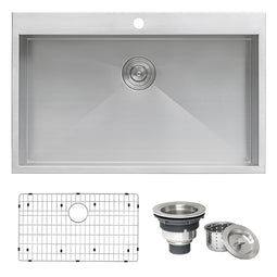 33 x 22 Drop-in Topmount 16 Gauge Zero Radius Stainless Steel Kitchen Sink Single Bowl