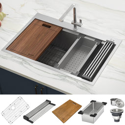 33 x 22 inch Workstation Ledge Drop-in Tight Radius 16 Gauge Stainless Steel Kitchen Sink Single Bowl