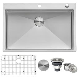 33 x 22 inch Drop-in Tight Radius 16 Gauge Stainless Steel Topmount Kitchen Sink Single Bowl