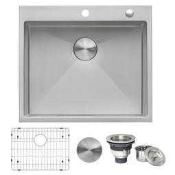 25-inch Drop-in Tight Radius Topmount 16 Gauge Stainless Steel Kitchen Sink Single Bowl