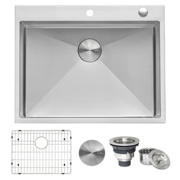 28-inch Drop-in Tight Radius Topmount 16 Gauge Stainless Steel Kitchen Sink Single Bowl