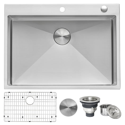 30 x 22 inch Drop-in Tight Radius Topmount 16 Gauge Stainless Steel Kitchen Sink Single Bowl
