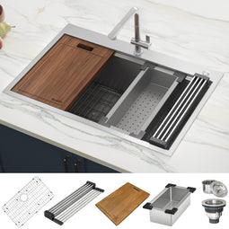 30 x 22 inch Workstation Drop-in Tight Radius Topmount 16 Gauge Ledge Stainless Steel Kitchen Sink Single Bowl
