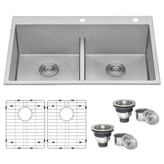 33 x 22 inch Drop-in 50/50 Double Bowl Tight Radius 16 Gauge Topmount Stainless Steel Kitchen Sink