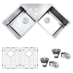 Corner Butterfly Undermount Kitchen Sink 16 Gauge 44