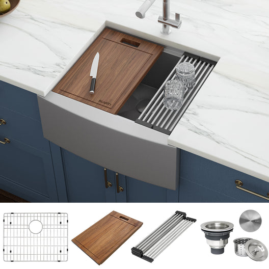 24-inch Apron-front Workstation Farmhouse Kitchen Sink 16 Gauge Stainless Steel Single Bowl