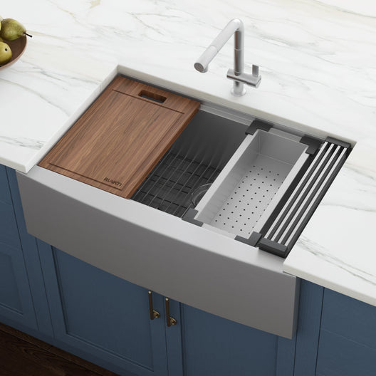 33-inch Apron-front Workstation Farmhouse Kitchen Sink 16 Gauge Stainless Steel Single Bowl