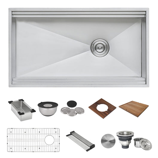 33-inch Workstation Two-Tiered Ledge Kitchen Sink Apron-Front 16 Gauge Stainless Steel