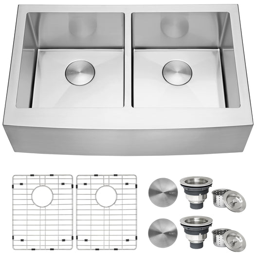 33-inch Farmhouse Apron-Front 50/50 Double Bowl Kitchen Sink Stainless Steel