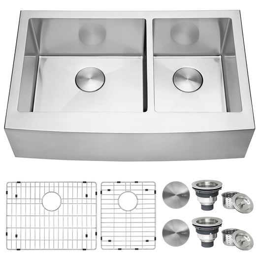 Farmhouse Apron-Front 60/40 Double Bowl Kitchen Sink Stainless Steel