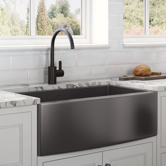 33-inch Apron-Front Farmhouse Kitchen Sink - Gunmetal Black Matte Stainless Steel Single Bowl