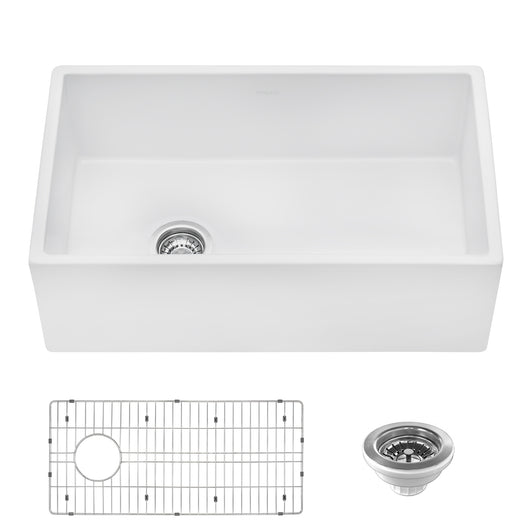 30-inch Fireclay Farmhouse Offset Drain Kitchen Sink Single Bowl White