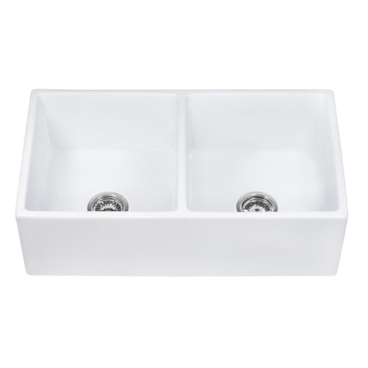 33 x 18 inch Fireclay Farmhouse Apron-Front Kitchen Sink Double Bowl - White