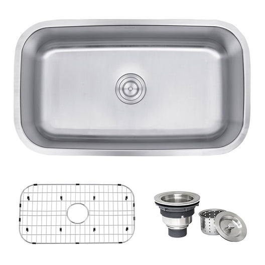 32-inch Undermount 16 Gauge Stainless Steel Kitchen Sink Single Bowl