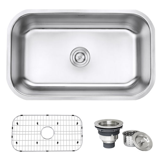 30-inch Undermount 16 Gauge Stainless Steel Kitchen Sink Single Bowl