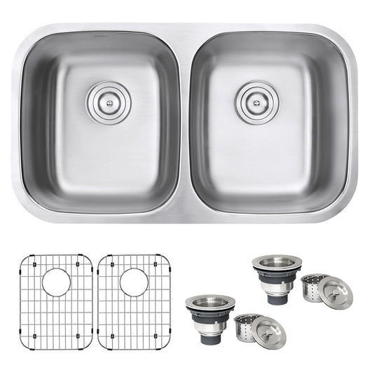 Undermount 50/50 Double Bowl 16 Gauge Stainless Steel Kitchen Sink