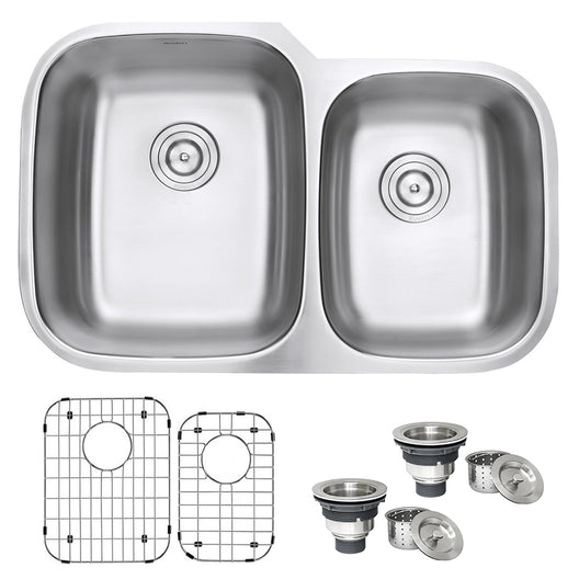32-inch Undermount Double Bowl 16 Gauge Stainless Steel Kitchen Sink