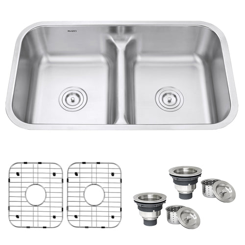 32-inch Low-Divide 50/50 Double Bowl Undermount 16 Gauge Stainless Steel Kitchen Sink