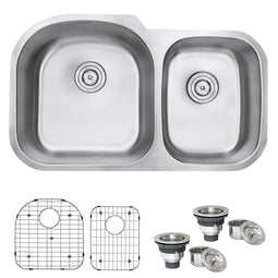 Undermount 34-inch Double Bowl 16 Gauge Stainless Steel Kitchen Sink