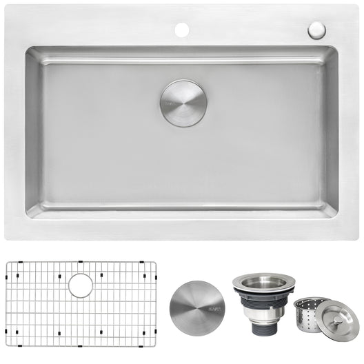 Drop-in Topmount Kitchen Sink 16 Gauge Stainless Steel Single Bowl