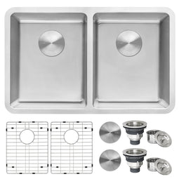 Undermount Kitchen Sink 50/50 Double Bowl 16 Gauge Stainless Steel