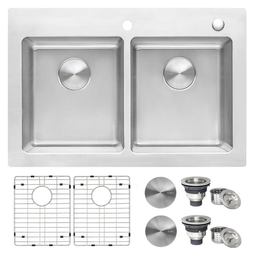33 x 22 inch Drop-in Topmount Kitchen Sink 16 Gauge Stainless Steel Double Bowl