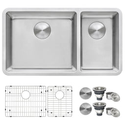 32-inch Undermount Kitchen Sink Double Bowl 16 Gauge Stainless Steel