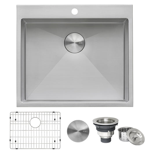 Topmount Laundry Utility Sink 25 x 22 x 12 inch Tight Radius Deep 16 Gauge Stainless Steel