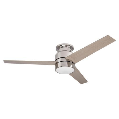 3-Blade Flush Mount Smart Ceiling Fan With LED Light Kit & Smart Wall Switch - Silver/Light Wood