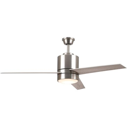 52''W, 3-Blade Smart Ceiling Fan with LED Light Kit & Smart Wall Switch - Silver/Wood Pattern