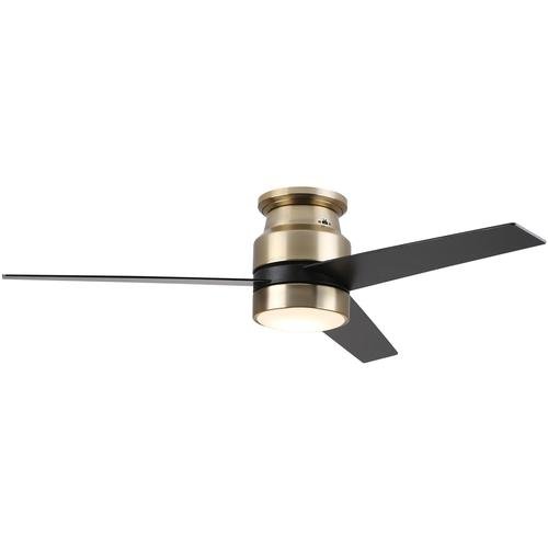 3-Blade Flush Mount Smart Ceiling Fan With LED Light Kit & Smart Wall Switch - Gold/Black