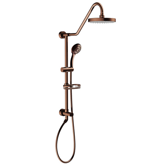 "Rain Shower System W/ 8"" Showerhead - 36.25""H X 8""W X 23.75""D - Brass - Adjustable Brass Slider - Surface Mounted Shower Systems"