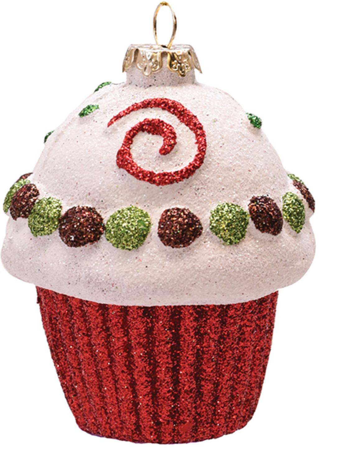 Merry & Bright Red  White And Green Glitter Shatterproof Cupcake Christmas Ornament 3.25