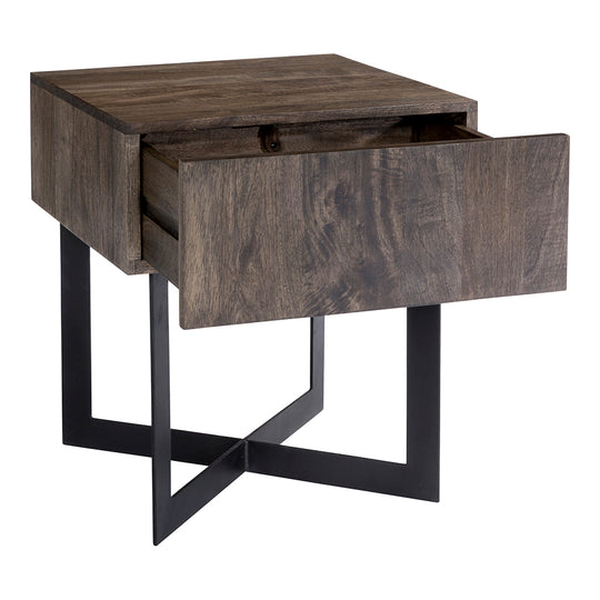 Tiburon Side Table Natural Industrial | End Accent Table | Moe's Home