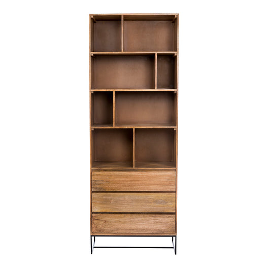 Transitional Colvin Storage Cabinet - 3 Drawers And Iron Base - Natural