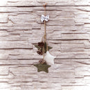 "Load image into Gallery viewer, 10"" White and Green Burlap Star and Pine Cone Christmas Ornament"