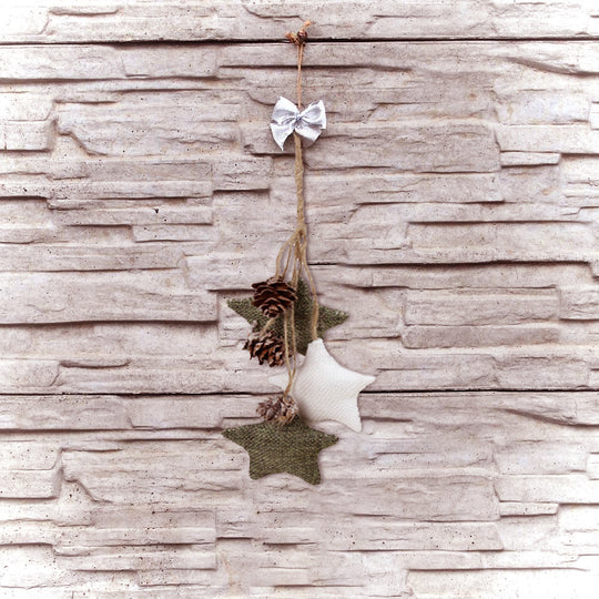 "10"" White and Green Burlap Star and Pine Cone Christmas Ornament"