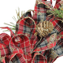 "Load image into Gallery viewer, 14.25"" Holiday Moments Red Plaid Bows and Pine Cones Artificial Christmas Wreath - Unlit,"