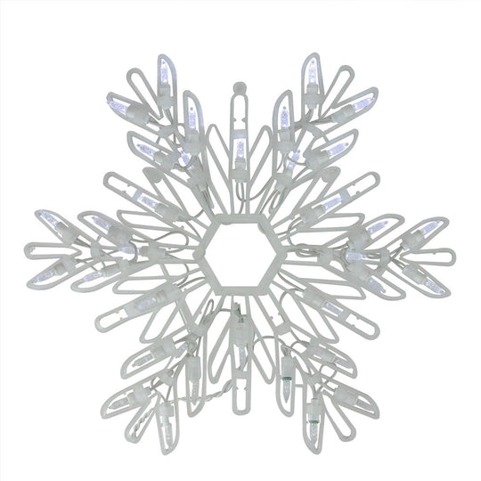 "15"" Blue LED Lighted Snowflake Christmas Window Silhouette Decoration"