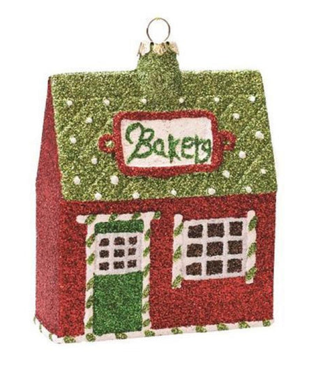 "4"" Merry & Bright Green  Red And White Glittered Shatterproof ""Bakery"" Christmas Ornament"