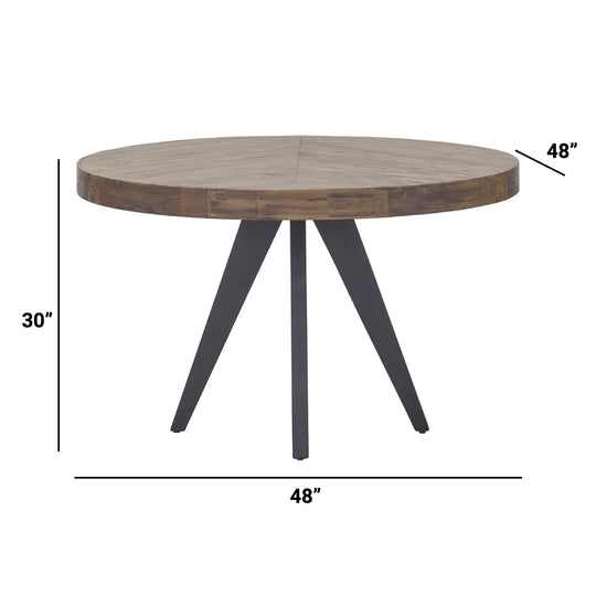 Rustic Parq Round Dining Kitchen Table - Space Saving Circular Dining Table