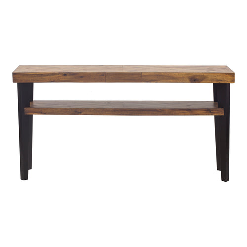 Rustic Parq Console Table In Solid Wood Acacia - Cappuccino Console Tv Stand With Storage Shelves