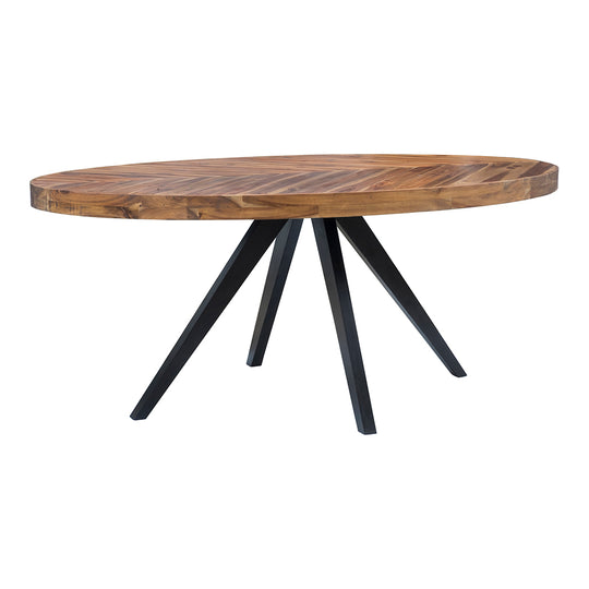 Rustic Parq Oval Dining Kitchen Table - Space Saving Dining Table