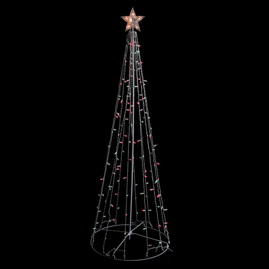 6' Red and Green Lighted Twinkling Show Cone Christmas Tree Outdoor Decoration