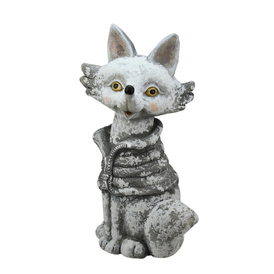 "20.75"" Snow Dusted Silver Fox Christmas Table Top Decoration"