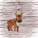 "Load image into Gallery viewer, 8"" Brown and White Spotted Stuffed Deer with Antlers Christmas Ornament"