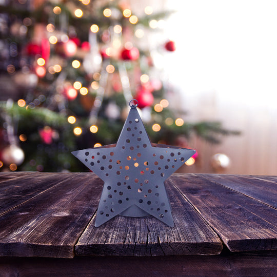 "4.5"" Gray Petite Star Lighted Cut Out Christmas Ornament"