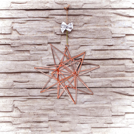 Rose Gold Geometric Star Christmas Ornament